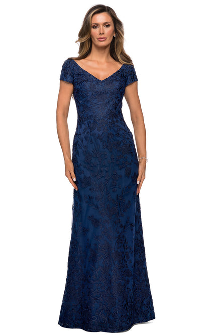La Femme - 27915 Ornate Lace Short Sleeve Long Dress In Blue