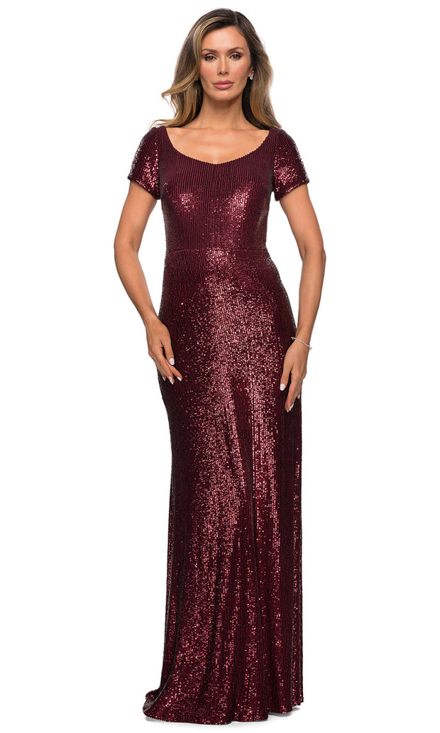 La Femme - 27916 Scoop Neck Full Sequin Sheath Gown In Red