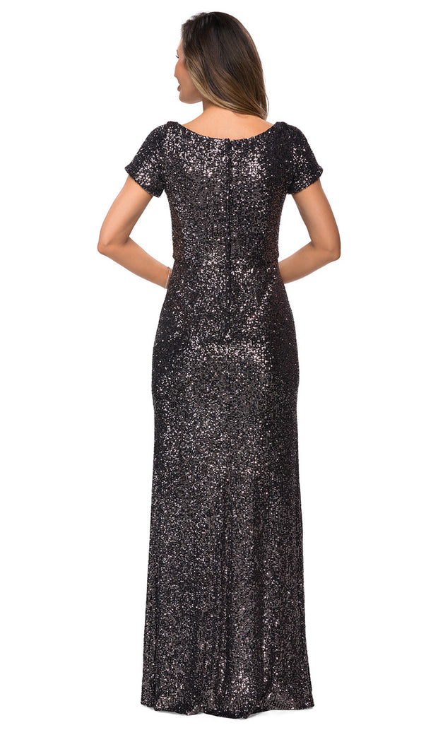 La Femme - 27916 Scoop Neck Full Sequin Sheath Gown In Black