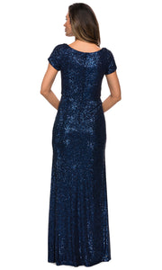 La Femme - 27916 Scoop Neck Full Sequin Sheath Gown In Blue