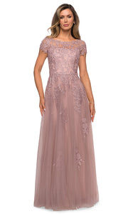 La Femme - 27920 Lace And Tulle A-Line Dress In Pink