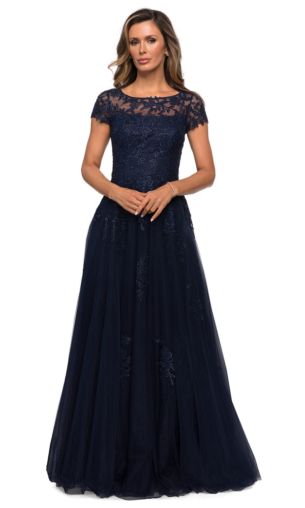 La Femme - 27920 Lace And Tulle A-Line Dress In Blue