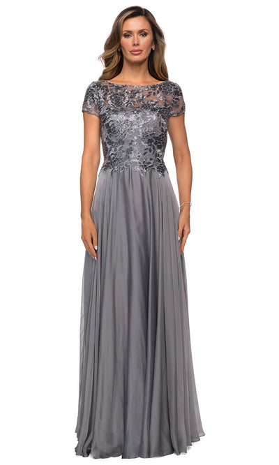 La Femme - 27924 Short Sleeve Illusion Lace Chiffon Dress In Silver & Gray