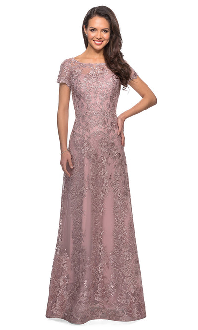 La Femme - 27935 Sheer Neckline Short Sleeve Lattice Lace A-Line Gown In Mauve