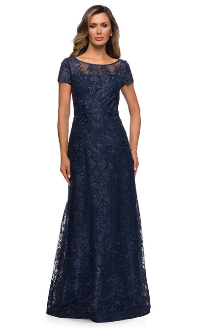 La Femme - 27935 Sheer Neckline Short Sleeve Lattice Lace A-Line Gown In Blue