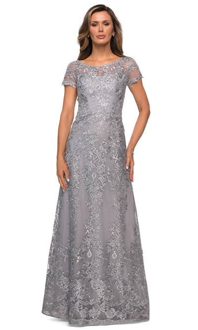La Femme - 27935 Sheer Neckline Short Sleeve Lattice Lace A-Line Gown In Silver & Gray