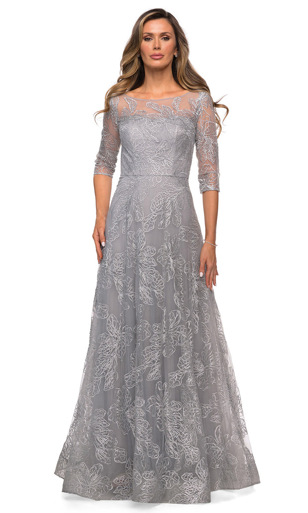 La Femme - 27942 Illusion Floral Lace A-Line Dress In Silver & Gray