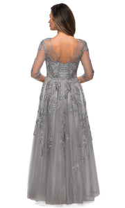 La Femme - 27944 Floral Lace A-Line Evening Dress In Silver and Gray