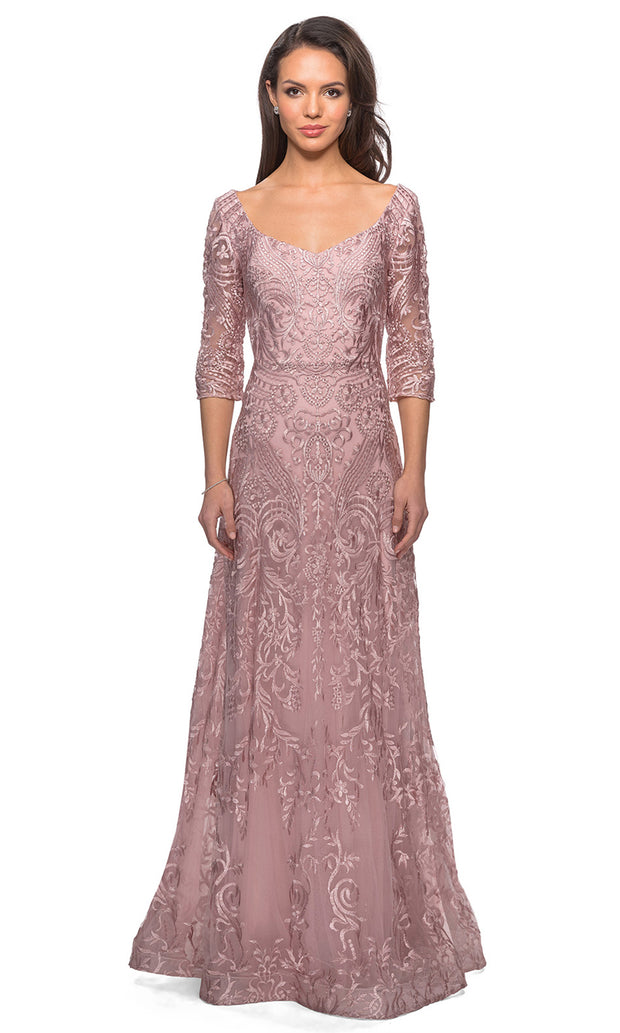 La Femme - 27949 Quarter Length Sleeve Embroidered Lace A-Line Gown In Mauve