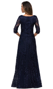 La Femme - 27949 Quarter Length Sleeve Embroidered Lace A-Line Gown In Blue