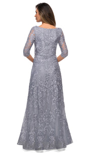 La Femme - 27949 Quarter Length Sleeve Embroidered Lace A-Line Gown In Silver & Gray