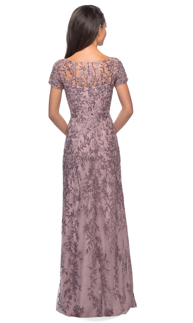 La Femme - 27956 Beaded Bateau Sheath Long Gown In Purple