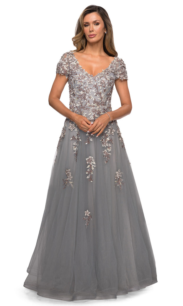 La Femme - 27968 Lace Applique Tulle A-Line Dress In Silver and Gray