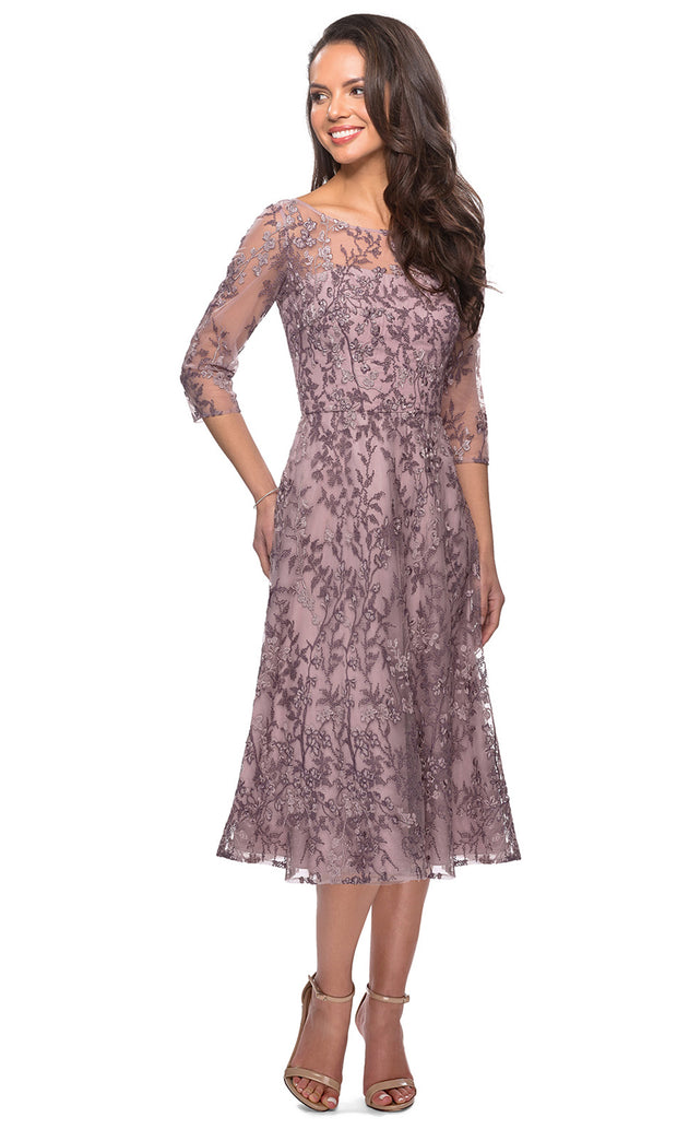 La Femme - 27971 Illusion Embroidered A-Line Dress In Purple