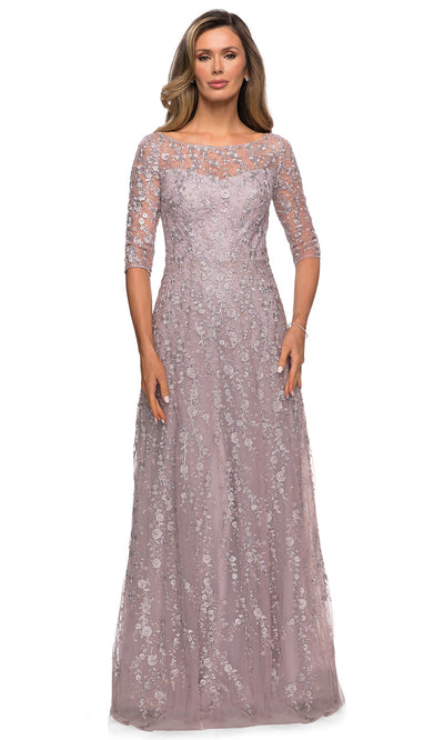 La Femme - 27981 Quarter Sleeve Sheer Lace Dress In Pink