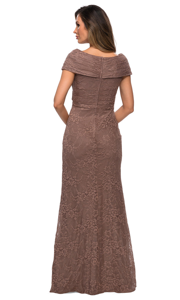 La Femme - 27982 Off Shoulder Fitted Faux Wrap Bodice Lace Dress In Brown