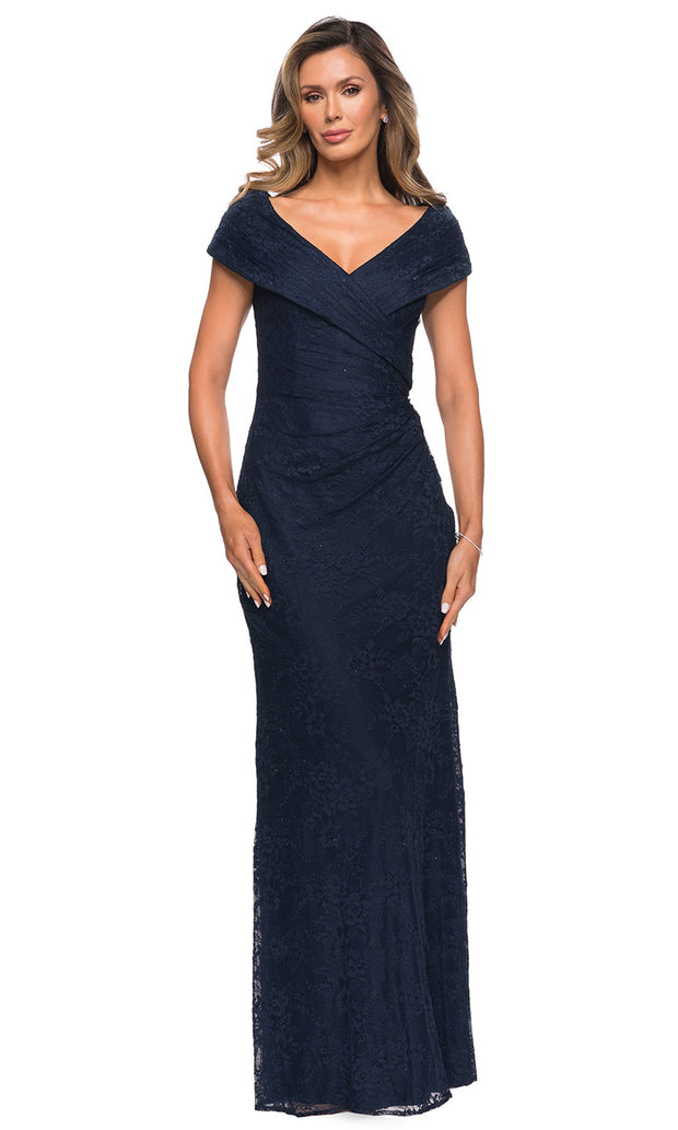 La Femme - 27982 Off Shoulder Fitted Faux Wrap Bodice Lace Dress In Blue