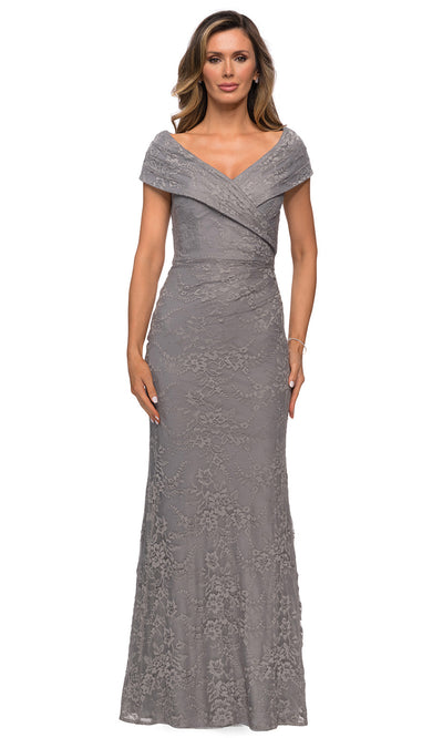 La Femme - 27982 Off Shoulder Fitted Faux Wrap Bodice Lace Dress In Silver & Gray