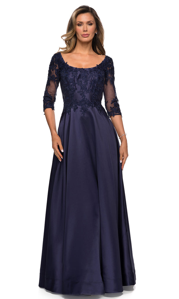 La Femme - 27988 Quarter Sleeve Scoop Appliqued Dress In Blue