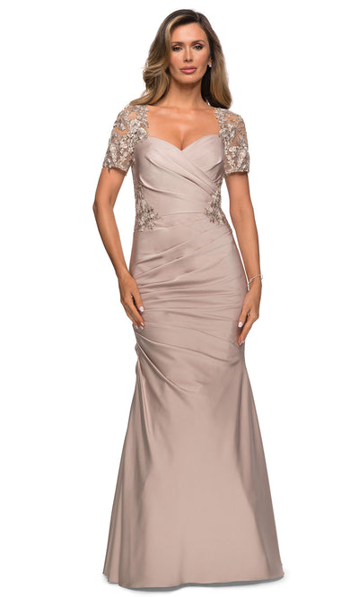 La Femme - 27989 V Neck Trumpet Dress In Pink