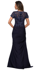 La Femme - 27989 V Neck Trumpet Dress In Blue