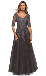 La Femme - 27993 V Neck Lace A-Line Evening Gown In Silver and Gray
