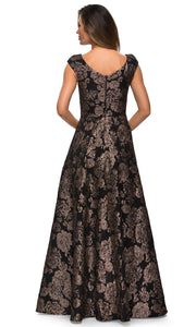 La Femme - 27999 Floral Sweetheart A-Line Dress In Black and Gold