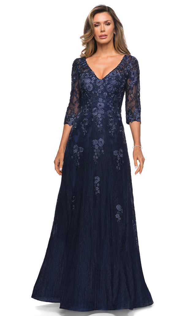 La Femme - 28000 Beaded Lace A-Line Evening Dress In Blue