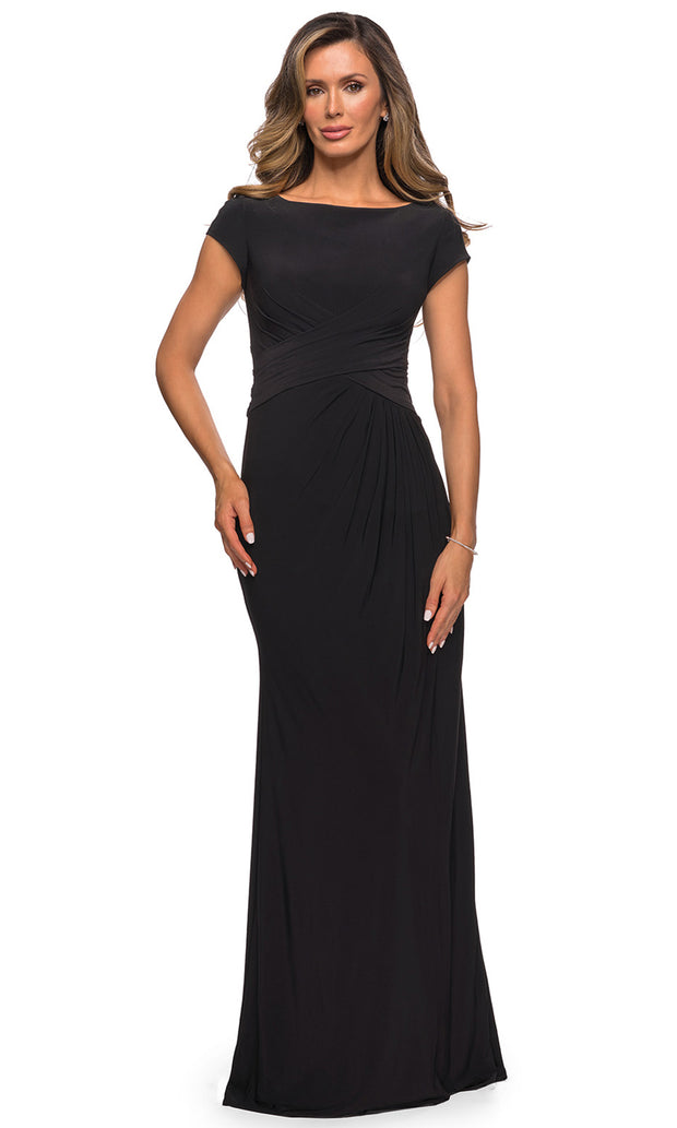 La Femme - 28026 Cap Sleeve Jersey Long Formal Dress In Black