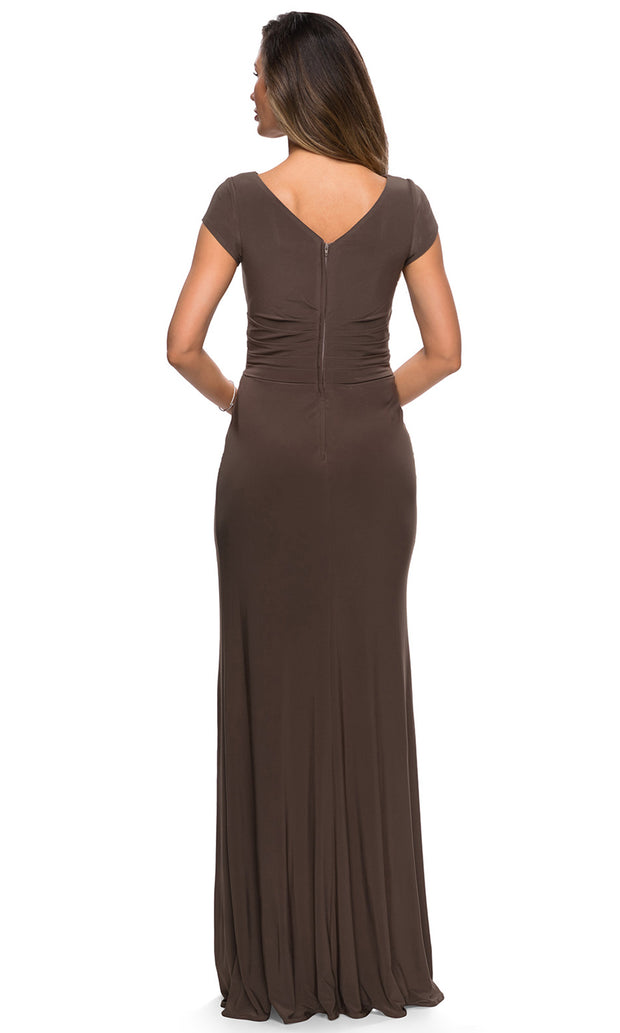 La Femme - 28026 Cap Sleeve Jersey Long Formal Dress In Brown