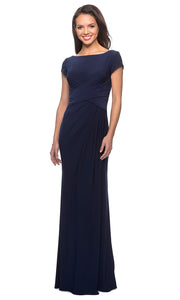 La Femme - 28026 Cap Sleeve Jersey Long Formal Dress In Blue
