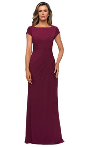 La Femme - 28026 Cap Sleeve Jersey Long Formal Dress In Red