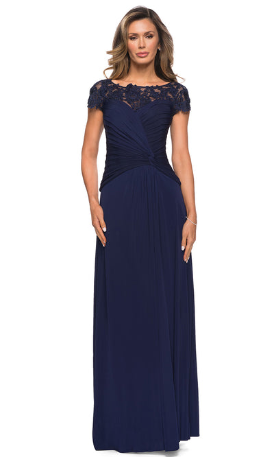La Femme - 28029 Floral Lace Illusion Bateau Dress In Blue