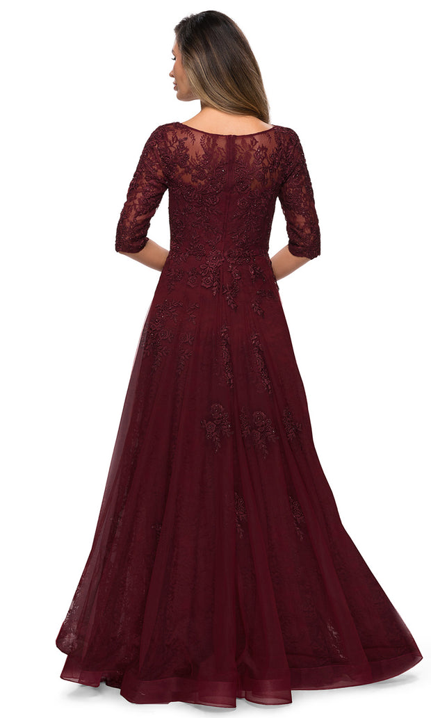 La Femme - 28036 Bateau Neck Floral Lace Over Tulle Long Formal Dress In Burgundy