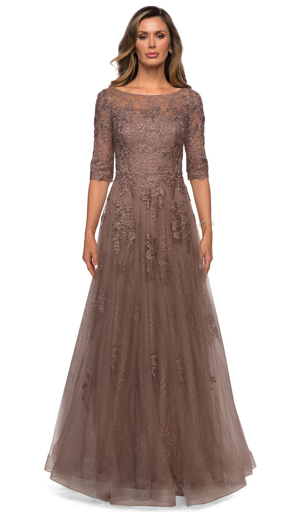La Femme - 28036 Bateau Neck Floral Lace Over Tulle Long Formal Dress In Brown