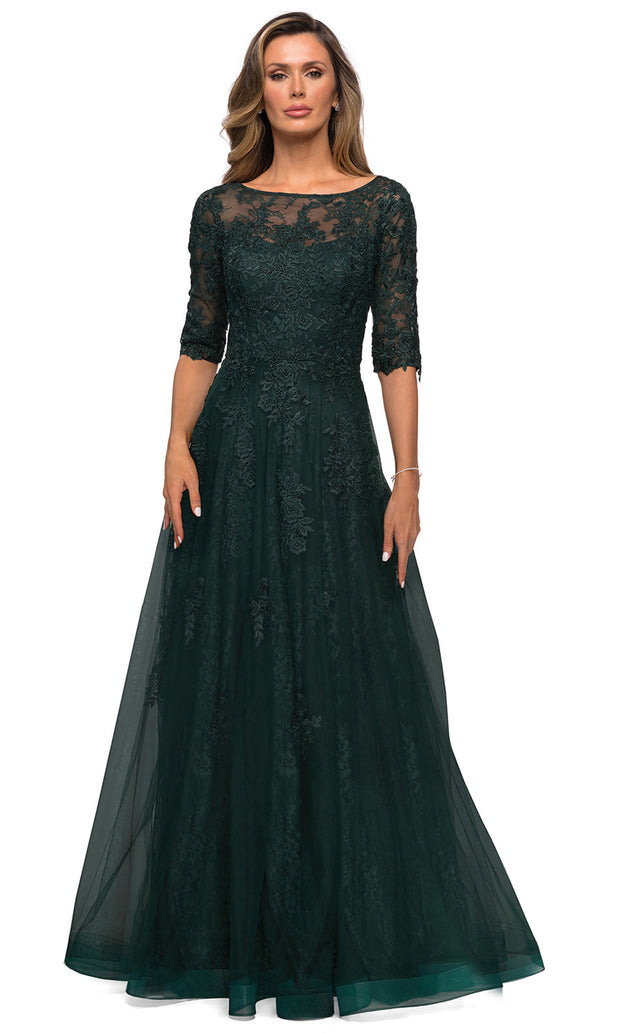 La Femme - 28036 Bateau Neck Floral Lace Over Tulle Long Formal Dress In Green