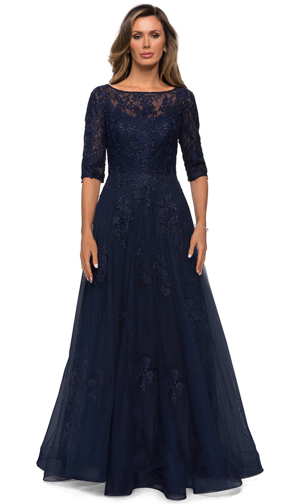 La Femme - 28036 Bateau Neck Floral Lace Over Tulle Long Formal Dress In Blue