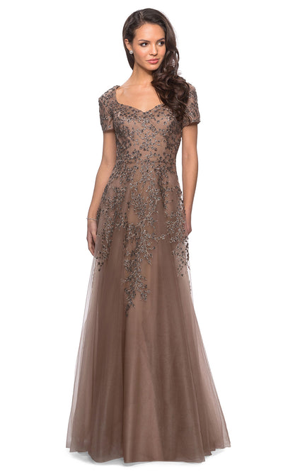 La Femme - 28037 Short Sleeve Embroidered Lace Tulle Dress In Brown