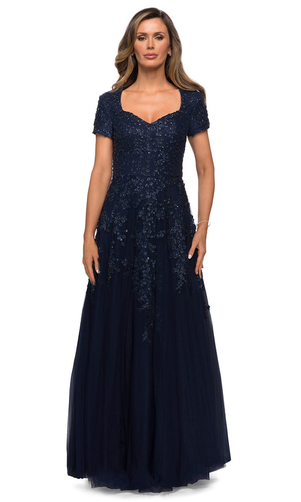 La Femme - 28037 Short Sleeve Embroidered Lace Tulle Dress In Blue