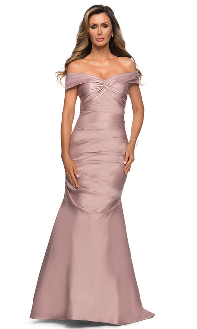 La Femme - 28047 Off Shoulder Long Fit And Flare Dress In Pink