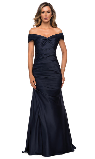 La Femme - 28047 Off Shoulder Long Fit And Flare Dress In Blue