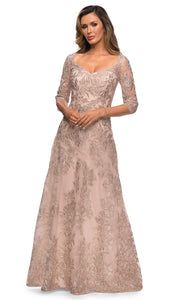 La Femme - 28053 V Neck Lace A-Line Gown In Neutral