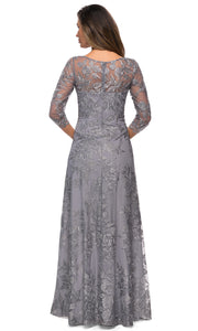 La Femme - 28053 V Neck Lace A-Line Gown In Silver