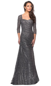 La Femme - 28065 Quarter Sleeve Shirred Sequin-Ornate Dress In Silver & Gray