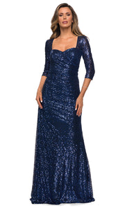 La Femme - 28065 Quarter Sleeve Shirred Sequin-Ornate Dress In Blue