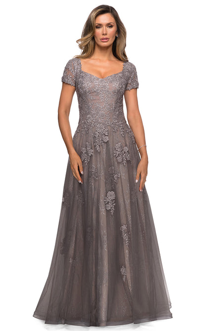 La Femme - 28091 Floral Lace Tulle Gown In Silver and Gray