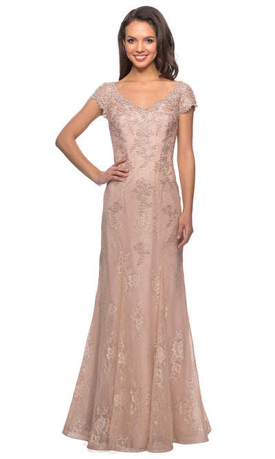 La Femme - 28099 Crystal Beaded Lace Trumpet Formal Dress In Pink