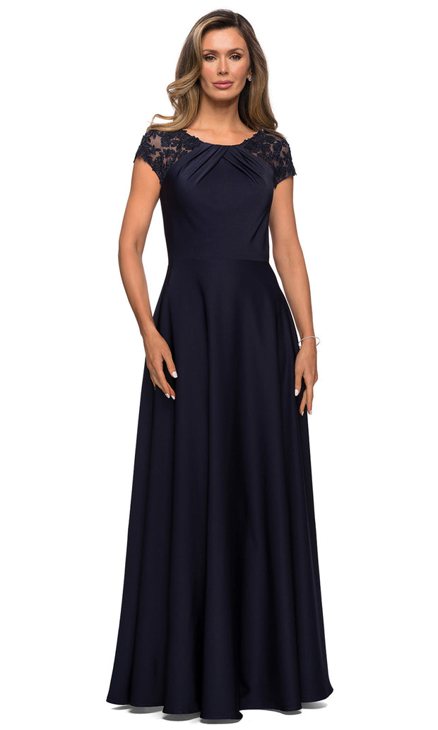 La Femme - 28100 Lace And Satin A-Line Gown In Blue