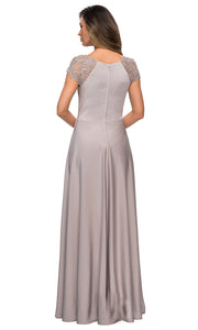 La Femme - 28100 Lace And Satin A-Line Gown In Silver