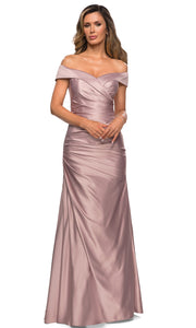 La Femme - 28103 Off-Shoulder Ruched Fitted Bodice Satin Evening Dress In Champagne & Gold